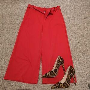 Zara Red Culottes